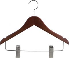 "Junior Walnut Wood Combo Hanger W/ Clips & Notches (14"" X 7/16"")"