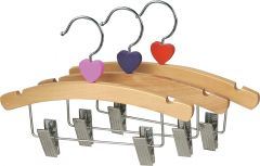 """Kids Natural Wood Combo Hanger W/ Clips & Notches (10"""" X 3/8"""")"""