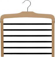 "Natural Wood 6 Tier Bottom Hanger W/Flocked Bars (16"" X 1/2"")"