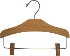 "Kids Matte Natural Alder Combo Hanger W/ Clips (11"" X 3/8"")"