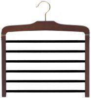 "Walnut Wood 6 Tier Bottom Hanger W/Flocked Bars (16"" X 1/2"")"