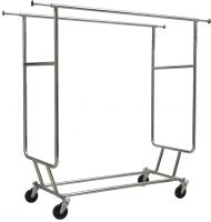 "Chrome Metal Adjustable Double Bar Collapsible Garment Rack (55""H-65""H X 48""L)"