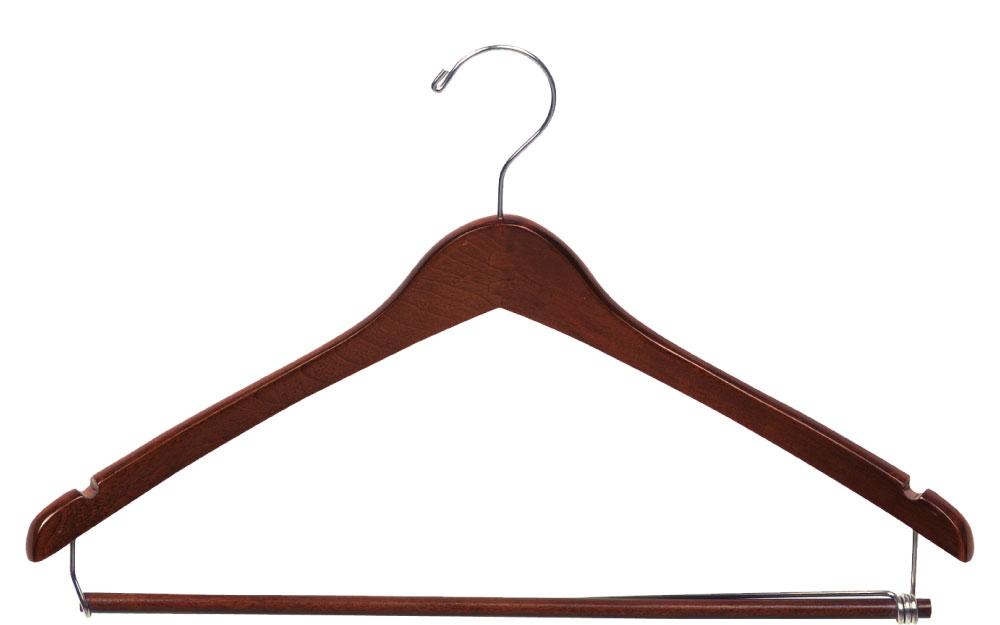 Walnut wood suit hanger with locking bar