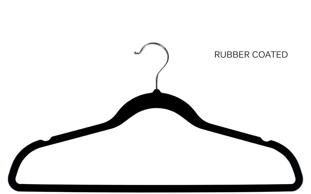Black rubber coated slim line hanger